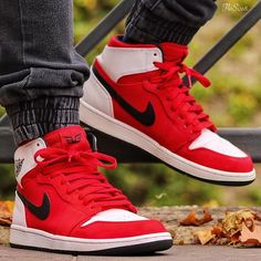"""separation shoes 28ef0 04bb9 Streetball Culture on Instagram  """" flosize8 we really love the shot of your  those Nike Air Jordan I s. The red is really popping!"""