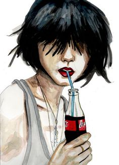 Coke Through a Long Blue Straw Coca Cola, Fashion Art, Drawings, Cute, Anime, Doodle, Favorite Things, Sticker, Lovers