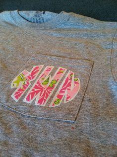 Lilly Pulitzer Inspired Monogram Pocket Tshirt. $20.00, via Etsy.