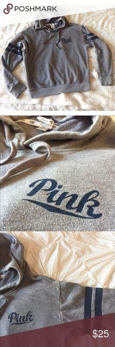 PINK Victoria's Secret hoodie Like new!! Gray and navy and cozy! PINK Victoria's Secret Tops Sweatshirts & Hoodies