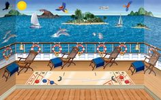 "BAHAHAHA ""Give your party venue the look of a cruise ship simply by hanging these cruise ship scene setters. It's an easy and affordable way to decorate with a nautical theme. Nautical Backdrop, Nautical Background, Nautical Party, Beach Backdrop, Nautical Wallpaper, Cruise Theme Parties, Cruise Ship Party, Party Themes, Theme Ideas"