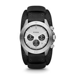 Retro Traveler Chronograph Leather Watch - Black CH2856 | FOSSIL®