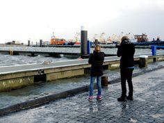 Storm en hoog water in de haven van Lauwersoog/ The Netherlands