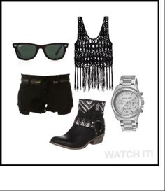 Outfit Inspiration with WATCH IT!  This look is edgy yet feminine when you pair black and fringe with this Michael Kors Silver watch. Add a classic pair of Ray-ban wayfarers for extra chic!