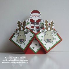 Les Ateliers de Val: Carte père noel Pop Up Cards, Christmas Cards, Christmas Ornaments, Tuxedo Card, Stampin Up, Suit Card, Happy New Year Cards, Santa Suits, Creations