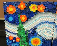 Use Recycled Bottle Caps to Create A Mural! Use Recycled Bottle Caps to Create A Mural! Bottle Top Art, Bottle Top Crafts, Bottle Caps, Recycled Art Projects, Recycled Crafts, Plastic Bottle Tops, Beer Cap Art, Button Art, Art Plastique