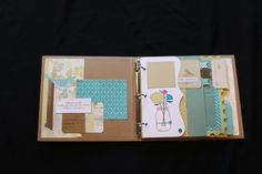 SKYLARK 3 RING ALBUM: Nine cricut cut pages, decorated with the Skylark Papers and Picture My Life Cards. All images have been stamped and papers have been embossed. Simply sand the papers and assemble as desired. Allow 2-3 hours to complete the project. $35.00