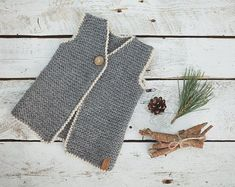 Knitting Baby Vest Grey vest / Knitted vest / Knitted Baby Vest / Wool Baby vest / G. Baby Knitting Patterns, Knitting For Kids, Lace Knitting, Toddler Vest, Kids Vest, Grey Vest, Brown Vest, For Elise, Wool Vest