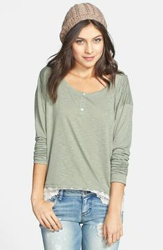Ten Sixty Sherman Lace Trim Henley (Juniors) available at #Nordstrom
