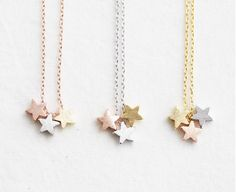 Star necklace/Three Star Necklace, triple star necklace/tiny star necklace/mini star/Korean jewelry/tiny necklace/rose gold/gold.silver
