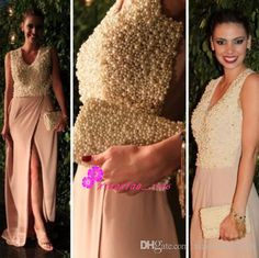 Luxury Major Beading Pearls 2016 A-Line Prom Dresses with V-Neck Cap Sleeves Blush Pink Chifon Long Plus Size Side Split Evening Party Gowns Online with $195.38/Piece on Xiaoxiao_2016's Store | DHgate.com