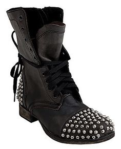 Wore these boots with a leopard shirt dress and fishnets.  Steve Madden Studded Biker Boots