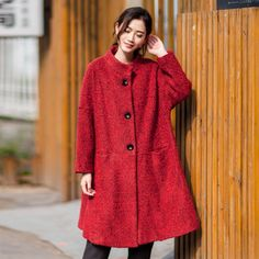 Red Loose Wool Coat