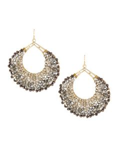 Wire-Wrapped Beaded Hoop Earrings, Hematite by Panacea at Neiman Marcus Last Call. Cool beadwork on these!