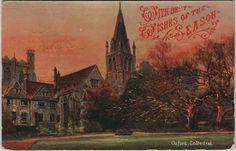 Vintage Christmas postcard, Oxford Cathedral, Hildesheimer, c.1909