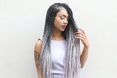 Catface Hair Black Grey Ombre Jumbo Braiding Hair 30 Inches | Etsy Cornrows, Afro Braids, African Braids, Braids For Black Women, Braids For Black Hair, Ombré Hair, Face Hair, Box Braids Hairstyles, Dreads