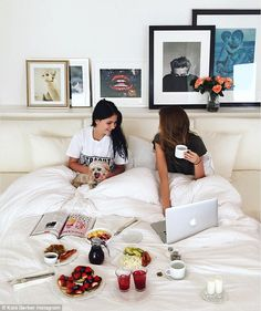 Tasty breakfast: Kaia clearly also takes care of her health - she posted a photo of herself enjoying a morning cuppa with a friend in bed on Thursday
