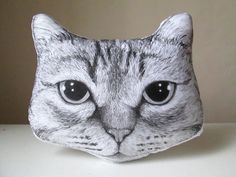 personalized cat portrait pillow for pet lovers hand painted cushion gift idea by MosMea on Etsy