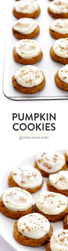 This Pumpkin Cookies recipe is my absolute favorite!  They're so delicious and soft, and topped with the most heavenly cream cheese frosting.  They're the perfect dessert for fall, Thanksgiving, or anytime you're craving pumpkin!  | gimmesomeoven.com