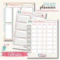 Free Printable Planners - February - The CreativiDee Workshop