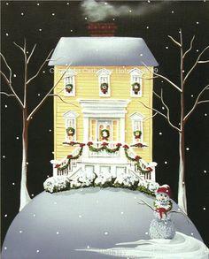 Folk Art Print Yuletide Cottage by catherineholman on Etsy, $16.95 ~ dreamy :)