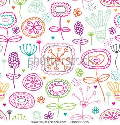 Seamless retro kitchen flowers background pattern in vector by Maaike Boot, via Shutterstock