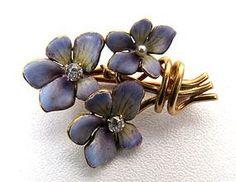 Antique Gold Enamel and Diamond Violet Flower Brooch