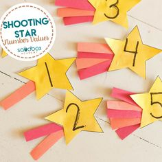 Shooting Star Number Values Learning Numbers Preschool, Space Theme Preschool, Preschool Arts And Crafts, Space Activities, Pre K Activities, Space Theme Classroom, Classroom Activities, Number Value, Outer Space Theme