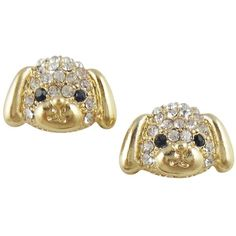 Adorable Gold Tone Puppy Dog Stud Earrings Embellished with Sparkling... ($12) ❤ liked on Polyvore featuring earrings