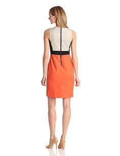 Kenneth Cole New York Women's Marcie Color Blocked Dress, Tiger Lily/Sandstone/Black, 4