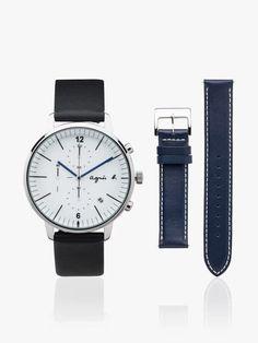 montre homme 2 bracelets cuir noir et bleu | agnès b. Bracelet Cuir, Daniel Wellington, Style Inspiration, Bracelets, Watches, Accessories, Inspirational, Fashion, Black Leather