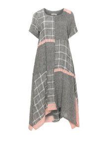 zedd plus Linen blend midi dress in Anthracite / Dusky-Pink