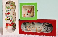 From Earth 911 ...reuse vintage looking greeting cards into diorama boxes for display.
