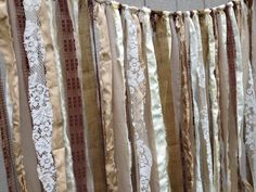 Rustic Vintage Wedding Backdrop Burlap Fabric Garland - Garden, Shabby, Tattered, Repurposed - Special Event