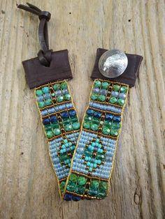 Bead loom bracelet, bead woven bracelet, Native American inspired, hand-loomed, made in the USA. Bohemian bracelets, boho bead Loom bracelet