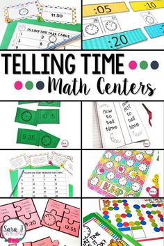 Teaching Telling Time to the 5 Minutes with Centers Teaching First Grade, 1st Grade Math, Kindergarten Math, Grade 1, Second Grade, Teaching Kids, Teaching Resources, Math Activities For Kids, Math For Kids