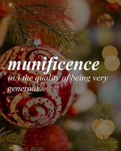 "English with Latin origin, mūnus meaning ""gift"" /myoo-nif-uh-suh ns/ MERRY CHRISTMAS & HAPPY HOLIDAYS!!"