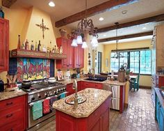 Perhaps turquoise? Rustic Mexican Kitchen Design Ideas | Mexican Style Home Decor...