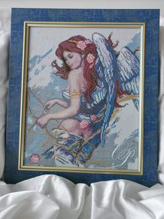 Framed embroidered picture Angel, Embroidery, Frame, Pictures, Painting, Art, Picture Frame, Photos, Art Background