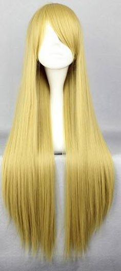 SMILE Cosplay Anime Wigs 80cm Long Naruto-Tsu Na Te Blonde straight Anime Cosplay Costume Wig ** Continue to the product at the image link.