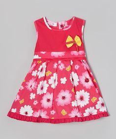 Look at this #zulilyfind! Pink & Yellow Daisy A-Line Dress - Toddler & Girls by Di Vani #zulilyfinds
