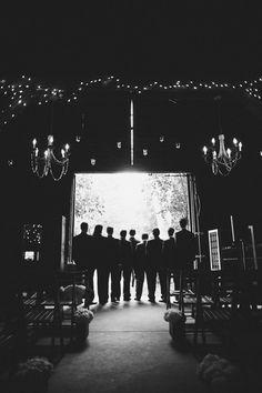 Black & white photo of the Groom & Groomsmen