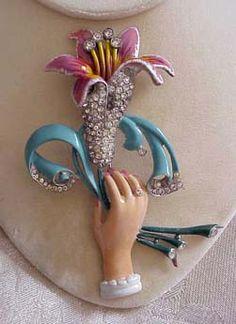 "STARET hand holding flowers brooch, circa (Seen in Christie Romero's ""Warman's Jewelry, Ed, page Vintage Pins, Vintage Brooches, Vintage Costume Jewelry, Vintage Costumes, Hands Holding Flowers, Hand Holding, Antique Jewelry, Vintage Jewelry, Silver Jewellery"