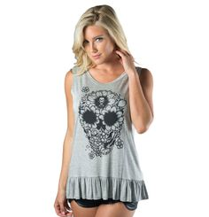 Rose Badge Sullen Angels Lace Panel Tank Top