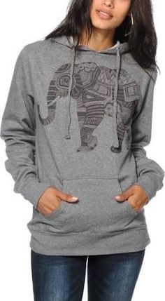 A fitted pullover hoodie cut from a comfortable and soft fleece material features a tribal elephant screen print graphic for an on-trend look. Tribal Elephant, Elephant Love, Elephant Stuff, Elephant Gifts, Elephants Never Forget, Hoodies, Sweatshirts, Sweater Hoodie, What To Wear