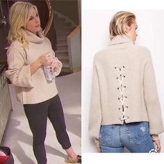 Tinsley Mortimer's Lace Up Back Sweater Blonde Hair Outfits, Big Blonde Hair, Hot Pink Sweater, Gucci Loafers, Real Housewives, New York Fashion, Fashion Inspiration, Turtle Neck, Lace Up