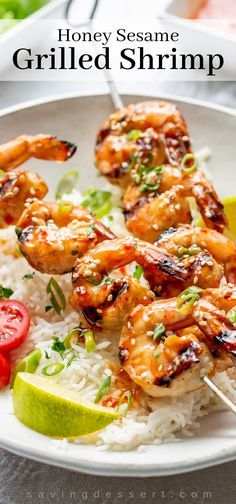 Marinated Honey Sesame Grilled Shrimp is a terrific dinner solution for a quick weeknight meal or easy weekend dinner party. A quick and easy dinner solution with terrific flavor! Grilled Shrimp Recipes, Pork Rib Recipes, Grilled Meat, Grilling Recipes, Seafood Recipes, Grilling Ideas, Meat Recipes, Thai Sweet Chili Sauce, Bbq Pork Ribs