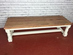 New Country Cottage Shabby Chic Console Bench painted white rustic oak RRP £299