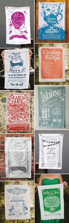Wedding Invitation Ideas - Wedding Tea Towels - onefabday.com