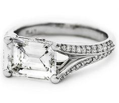 Emerald Cut Horizontal Split Band Pave Engagement ring